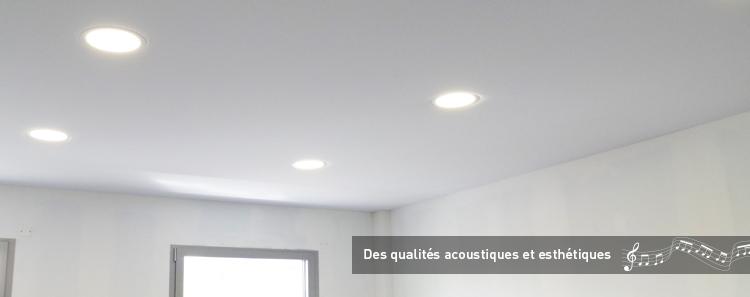 Toile acoustique pour plafonds tendus acoustiques en rev tement microperfor for Raccord lambris pvc plafond
